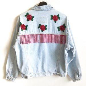 Jordache Beaded Flower Vintage Denim Jacket